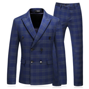 Hommes costume formel double boutonnage plaid grande taille 5xl