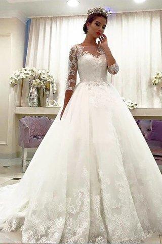 Robe de mariée naturel avec décoration dentelle