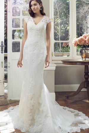 Robe de mariée naturel de col en v longueur au ras du sol en dentelle  maillot 5a6c56a9a8ba