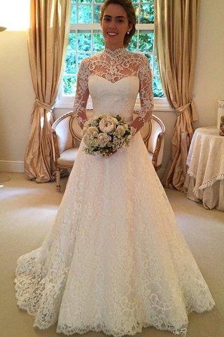 118cacbc917 Robe de mariée naturel de mode de bal avec manche longue elevé de traîne  moyenne