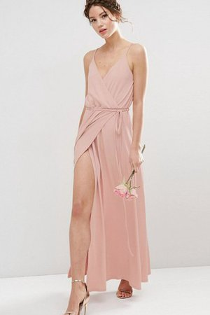 Robe demoiselle d'honneur simple luxueux gaine en chiffon manche nulle