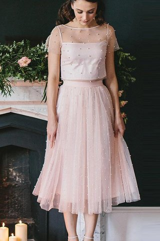 Robe de cocktail encolure ronde 2 pice en tulle chaming naturel