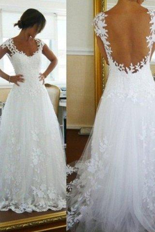 ebf186fa747 Robe de mariée naturel avec sans manches sans dos avec décoration dentelle  v encolure