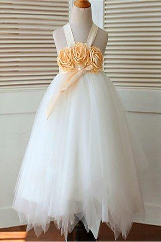 1b452bc077d13 Robe de cortège enfant manche nulle longueur mollet en tulle avec fleurs de  mode de bal