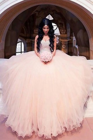 7ca615270cb Robe de mariée avec sans manches de col en cœur en tulle de mode de bal